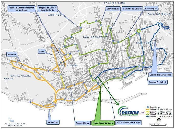 mapa de ponta delgada Holiday apartments in historical center of Ponta Delgada   São  mapa de ponta delgada